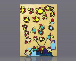 """Pintura acrílico """"Festa das Flores ao vento da Primavera Como Foguetes"""""""