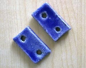 Botões Retangulares Azul-Cobalto
