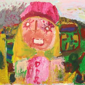 """Pintura acrílico """"Menina do Chapéu Cor de Rosa"""""""