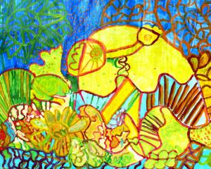 """Pintura acrílico """"O boneco das flores de coral"""""""