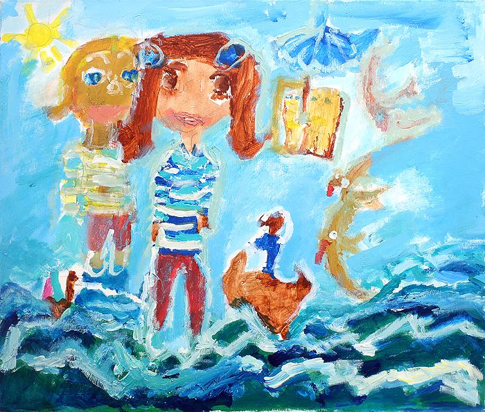 """Pintura acrílico """"Meninas no Mar"""""""