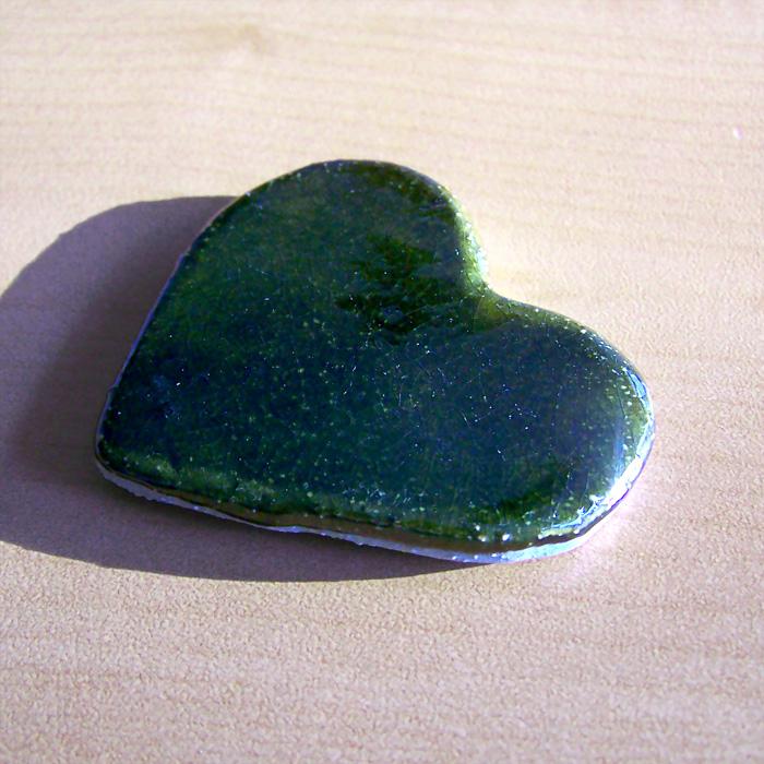 Pisa-papéis Coração Verde Garrafa