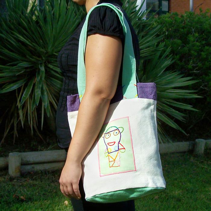 Saco de Pano Branco/Verde/Lilás