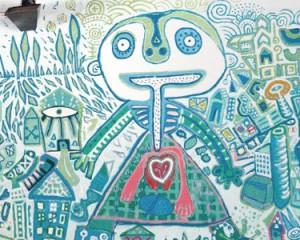 Ricardo Campos e jovens AFID pintam mural