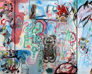 """Pintura """"A grande diferença passeia pela cidade"""""""