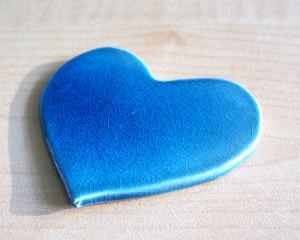Pisa-papéis Coração Azul