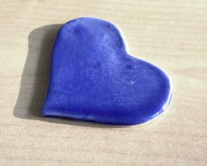 Pisa-papéis Coração Azul Cobalto