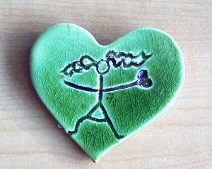 """Pregadeira """"Coração Vontade"""" Verde"""